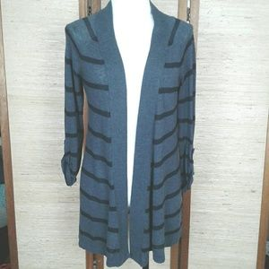 Express open front cardigan Gray sripe S/P